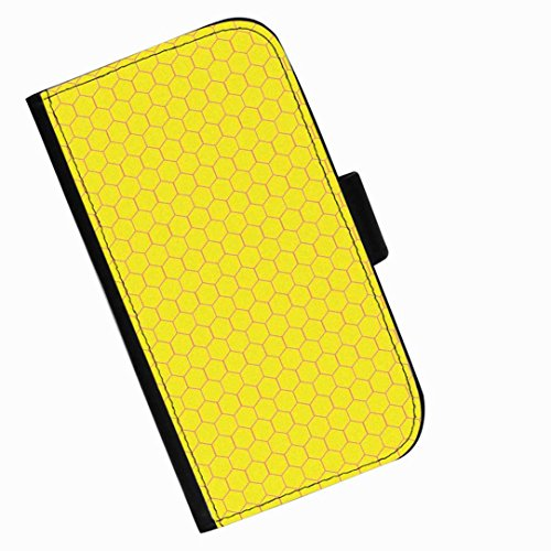 Hairyworm - Bright yellow beehive pattern LG X cam (K580) leather side flip wallet cell phone case, cover with card slots, money slot and magnetic clasp to ()