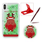 Liquid Case for iPhone XS Max,Plastic Hard Cover for iPhone XS Max,Herzzer Luxury Deluxe [Colorful Christmas Series Pattern] Funny Dynamic Stars Floating Glitter Sparkle Transparent Protective Case For iPhone XS Max 6.5 inch + 1 x Free Red Cellphone Kickstand + 1 x Free Claret-Red Stylus Pen - Merry Christmas