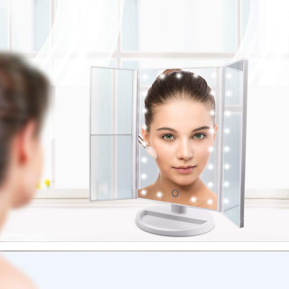 FASCINATE Lighted Makeup Mirror, Trifold Vanity Mirror with 21 LED Lights and 2X/3X Magnification, Touch Screen Dimming, Dual Power Supply, 180° Rotation Light Up Mirror (White)