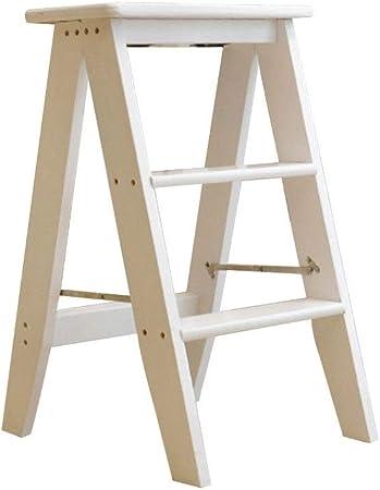 Bseack_store Escalera Escalera de Madera Maciza de 3 escalones de Doble Uso Sillas Plegables Taburete Plegable Escalera de Uso doméstico for Cocina Dormitorio (Color : White): Amazon.es: Hogar