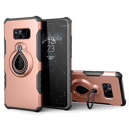 Galaxy Note 8 Case with Metal Ring Holder Kickstand, SmartLegend Dual Layer Shockproof Heavy Duty Protection Defender Armor Case [Magnetic Car Mount Compatible] for Samsung Galaxy Note 8 - Rose Gold - Kickstand Bumper Pad