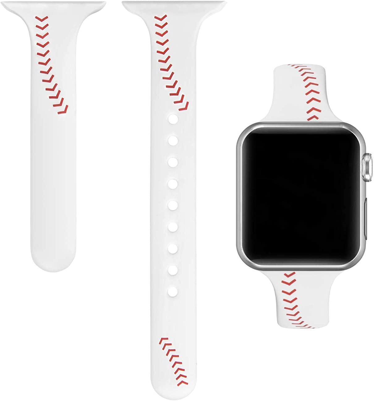 Yutior Sport Band Compatible with iWatch 38mm 40mm 42mm 44mm, Slim Soft Silicone Men Women Large Small Wristbands Baseball Strap for iWatch Series 5, 4, 3, 2, 1 Sport & Edition Black