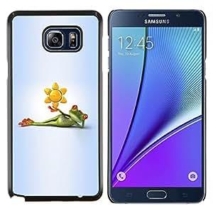 Stuss Case / Funda Carcasa protectora - Rana de dibujos animados Gris Gris Verde Blanco - Samsung Galaxy Note 5