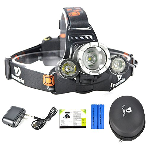 High Powered Lumen Bright Headlight Headlamp Flashlight Torch 3 XM-L2 T6 LED with Rechargeable Batteries and Wall Charger for Hiking Camping Riding Fishing Hunting