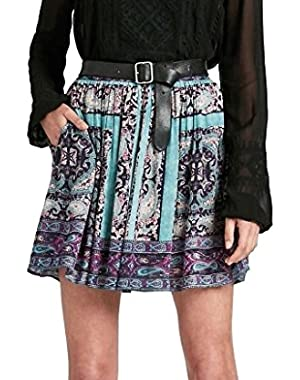 Women's - Moroccan Tile Paisley Border Scarf Print Pull-on Skirt