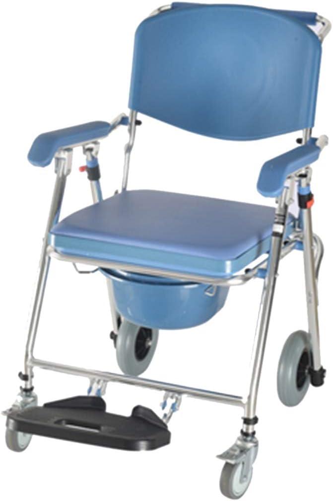 Silla con ruedas para inodoro con ducha, silla de ruedas para transporte médico a prueba de agua, silla plegable para inodoro junto a la cama, para baño Taburete para inodoro Anciano discapacitado