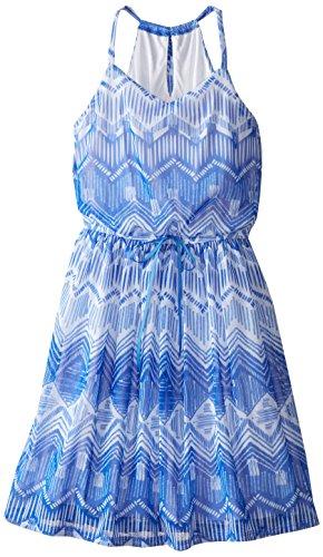 Speechless Big Girls' Printed Chiffon Dress, Cobalt Blue, 14