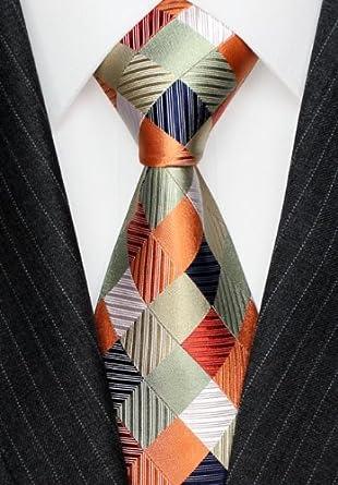 LORENZO CANA – Cuadros corbata de lujo de 100% seda, salmón Rojo ...
