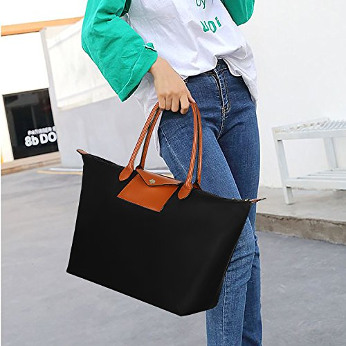 Women's Leather Top Handle Bag Handbag Tote Hobo Shoulder Bag Travel Hiking Weekender Foldable Waterproof with Wrist Purse Black & Brown by Gywon (Image #2)
