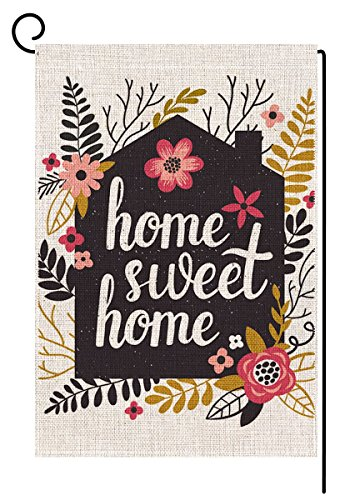Flag Garden Home Welcome - BLKWHT Home Sweet Home Garden Flag Vertical Double Sided Spring Summer Yard Outdoor Decorative 12.5 x 18 Inch
