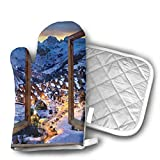 Primitive Windows Cityscape European Mountain Houses Oven Mitts, Non-Slip Silicone Oven Mitts, Extra Long Kitchen Mitts, Heat Resistant to 572¡ãF Kitchen Oven Gloves