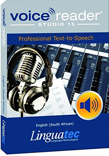 - Voice Reader Studio 15 English (South African) - Professional Text-to-Speech Software (TTS) / Convert any text into audio / Natural sounding voices / Create high-quality audio files / Large variety of applications: E-learning; Enrichment of training documents or advertising material; Traffic announcements, Telephone information systems; Voice synthesis of documents; Creation of audio books; Support for individuals with sight disability or dyslexia / This version contains 1 female voice