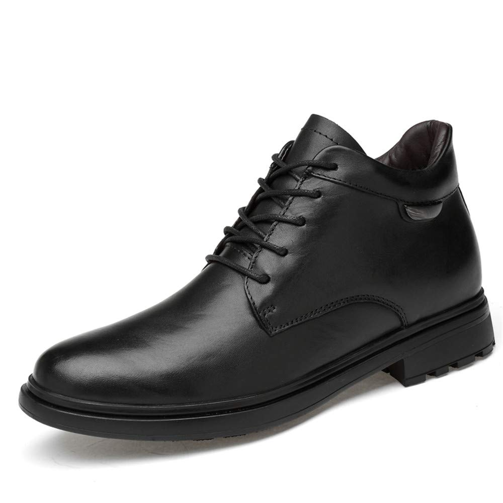 Hilotu Clearance Fashion Men's Ankle Boots Casual Fashion end Leather High Top Round Toe Lacing Work Shoes (Cotton Warm Optional) (Color : Black, Size : 9.5 D(M) US)