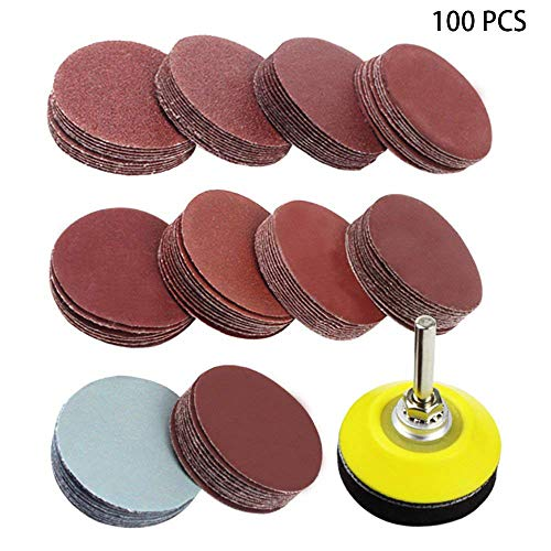 2 inch Sanding Discs Pad Kit, 100 Pcs Drill Grinder Rotary Tools with Backer Plate 1/4