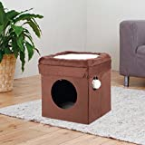 1 Piece Beige 16.5 Inches High Scratcher Fold Store Cat Condo, Brown Pet Hiding Cube Tree Bed Kitty Furniture Tunnel House, Collapsible Design Diamond Opening Dangling Pom-pom Toy Sisal Rope Polyester