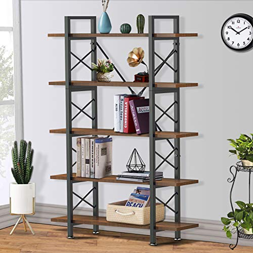 Yesker 5 Tier Bookshelf, Industrial Style Bookcase with Wood and Metal Frame, Open Storage Bookshelf for Home Office, Vintage Brown
