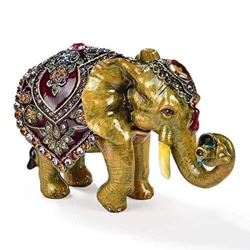 KALIFANO Elephant Keepsake Box with Purple Amethyst Swarovski Element Crystals