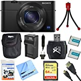 Sony DSC-RX100M4 DSC-RX100M4/B DSC-RX100MIV RX100M4 RX100MIV Cyber-shot l20.1 MP Camera Bundle includes Camera, 64GB SDXC Memory Card, Carrying Case, Mini Tripod, 2 Batteries, Charger and More