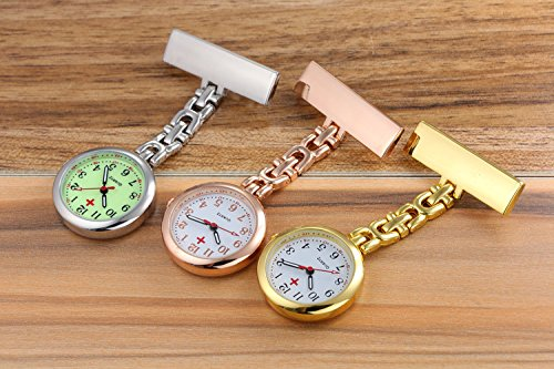 (Pack of 3) Women's Fob Watch with Quartz Movement Clip Pin Brooch Hanging Pocket Watch by autulet (Image #2)