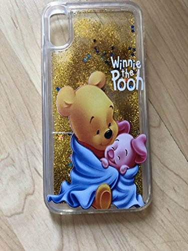 (Winnie The Pooh Sparkle Liquid Glitter Quicksand Case For iPhone XS Max - Ship From NY)