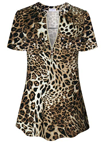 Bulotus Tunic Tops for Legging for Women Leopard Print Shirts Short Sleeve (Leopard Print, X-Large)