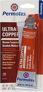 Permatex 81878-12PK Ultra Copper Maximum Temperature RTV Silicone Gasket Maker, 3 oz. (Pack of 12)