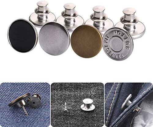 Button Pins, 4 PCS Instant Buttons Jean Button Replacement for Pants Jeans Swing Crafts DIY, Fashion,Easy to Use and No Tools Require.