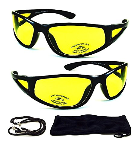 Black HD Aviator Sunglasses Driver Night Vision Driving Glasses Yellow Lens NEW