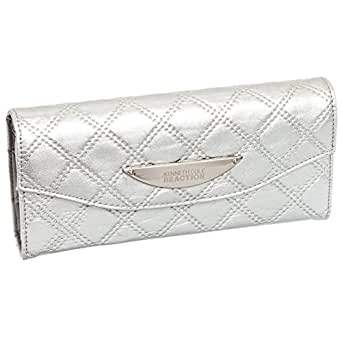 Kenneth Cole Silver Diamond Clutch Wallet with Cell Phone Holder