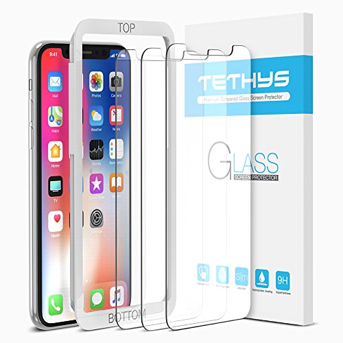 iPhone X Screen Protector (3-Pack + Guidance Frame), TETHYS Tempered Glass Screen Protectors for iPhone X / iPhone 10 2017 [Case Friendly / Easy Installation] [Ultra Clear] [Shatter Proof] - - Glasses Frame Names