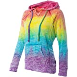 Joe's USA Koloa Surf Co.(tm) Womens Rainbow Stripe V-Neck Burnout Hoodies - Large