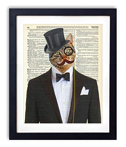Gentleman Cat In Tuxedo Vintage Upcycled Dictionary Art Print 8x10 inches, Unframed
