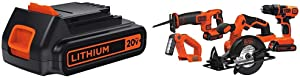 BLACK+DECKER LBXR20 20-Volt MAX Extended Run Time Lithium-Ion Cordless To with Black & Decker BD4KITCDCRL 20V MAX Drill/Driver Circular and Reciprocating Saw Worklight Combo Kit