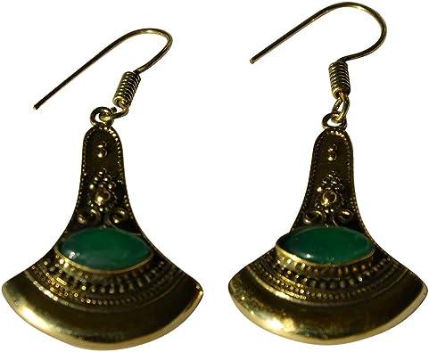 Aretes hacha puntos decorado Onyx verde de latón antiguo Golden sin níquel ohrhänger
