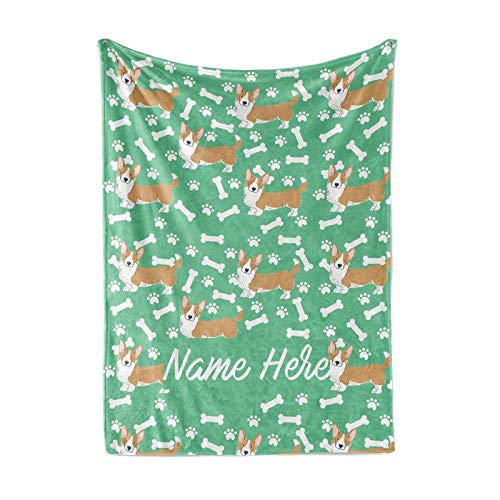 Personalized Custom Pet Corgi Fleece and Sherpa Throw Blanket for Men, Women, Kids, Babies - Matching Pet Blankets Perfect for Bedtime, Bedding or as Gift
