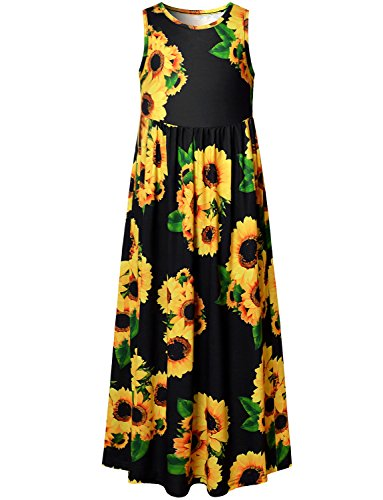 Perfashion Black Long Dress for Little Girls Empire Waist Flower Print Dressy Classy Maxi Dress (Dresses Empire Waist Flower Girl)