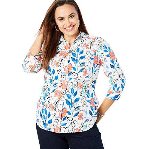 - Jessica London Women's Plus Size Three-Quarter Sleeve Poplin Shirt - White Painterly Floral, 12 W