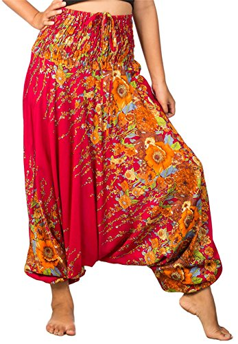 Lofbaz Women's Floral Printed Smock Waist 2 in 1 Jumpsuit Pants Burgundy L (Belly Dance Harem Pants For Women)
