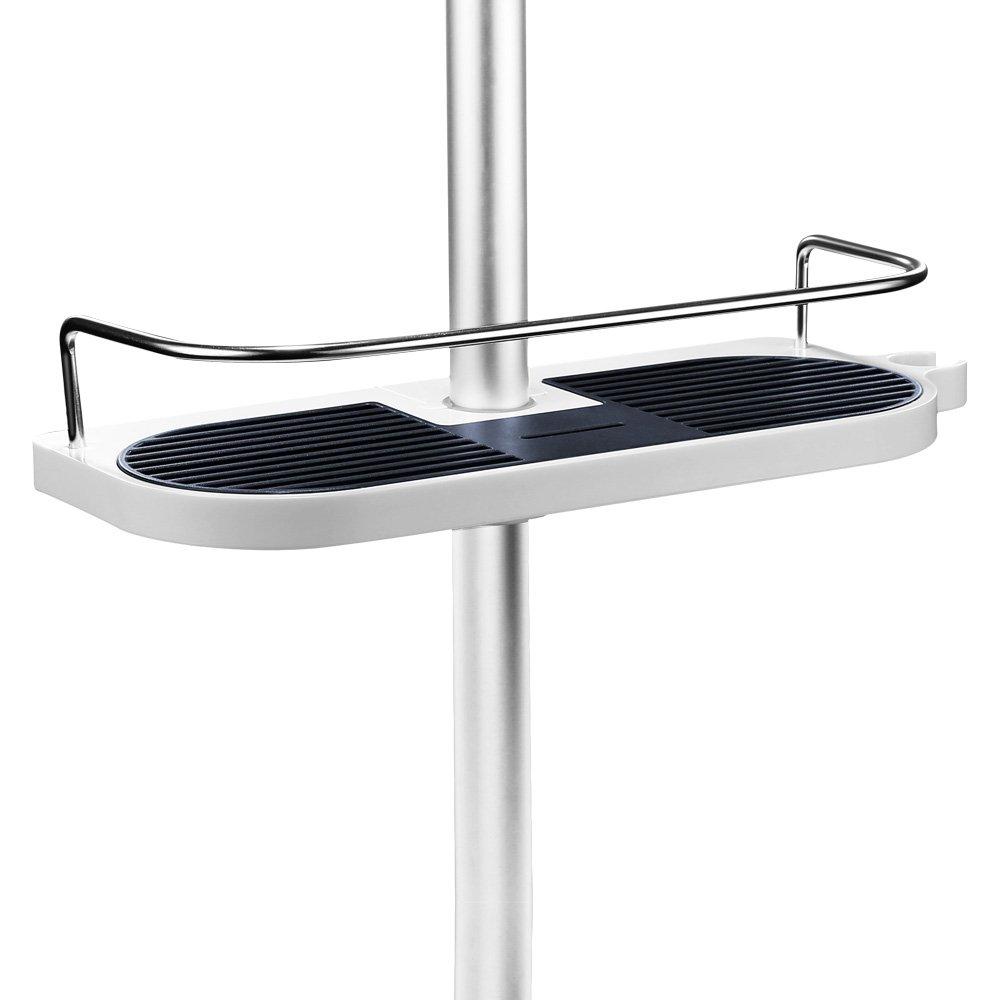 Merisny Mensola portaoggetti da doccia, Mensola da bagno organizer, portaoggetti da doccia con ganci supporto rimovibile per sapone shampoo balsamo, senza trapano a parete - Vestito per 19 mm - 25 mm ferroviario