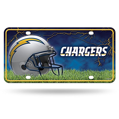 Rico NFL San Diego Chargers Bolt Logo Metal Auto Tag