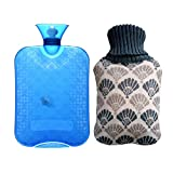 Hot Water Bottle 2L Hot Water Bag with Knit Cover Built-in Floating Fish Thickened PVC Retains Heat for 6 Hours Relaxing Heat Cold Therapy
