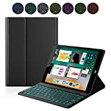 PC Hardware : iPad Keyboard Case for New 2017 iPad, iPad Pro 9.7, iPad Air 1 and 2 – Bluetooth Backlit Detachable Quiet Keyboard – Slim Leather Folio Cover – 7 Color Backlight – Apple Tablet (9.7, Black)