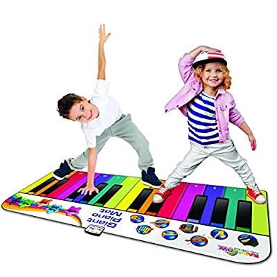 RAINBOW COLOURS Giant Piano Mat - Record & Playback Functions Plus 10 Play-Along Song Cards (L12'; Age 3+ Years): Toys & Games