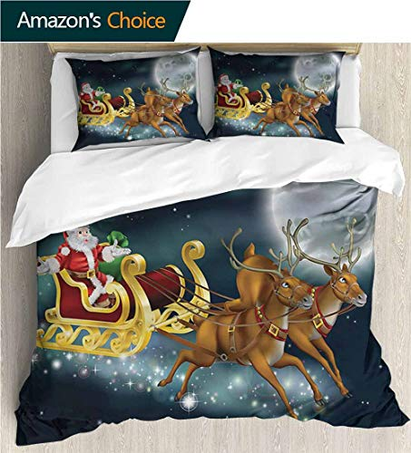 VROSELV-HOME European Style Print Bed Set,Box Stitched,Soft,Breathable,Hypoallergenic,Fade Resistant 100% Cotton Bedspread/Quilt Set,3 Pieces-Christmas Santa Claus with Reindeer (68