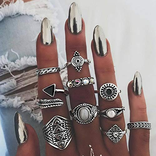 Crookston 10pcs/Set Retro Mid Midi Above Knuckle Ring Band Gold Silver Tip Finger Stacking | Model RNG - 2308 |