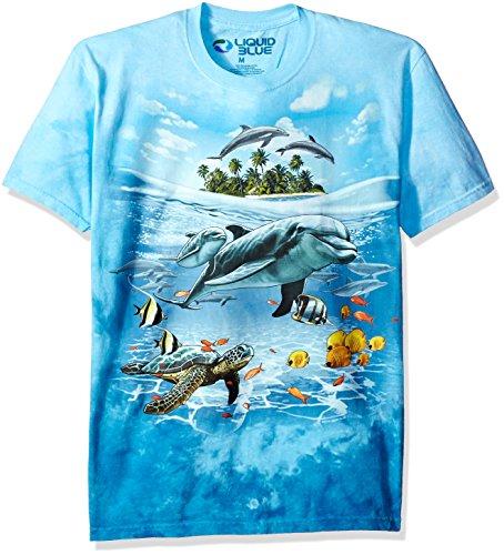 Liquid Blue Men's Dolphin Domain T-Shirt, Tie Dye/Multi, ()