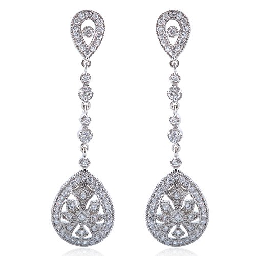 EVER FAITH Bridal Art Deco Classical Gatsby Inspired Pave Cubic Zirconia Chandelier Earrings Clip-on