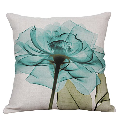 YeeJu Lotus Plant Decorative Throw Pillow Covers Square Cotton Linen Cushion Covers Outdoor Sofa Home Couch Pillow Covers 20x20 Inch