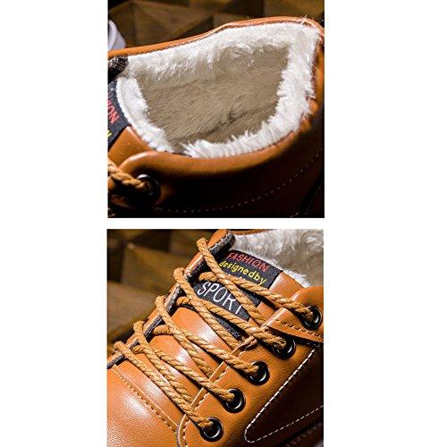 © Hibote Deporte De Zapatos Cálido Con Tienen Contrajeron Entrenadores Los De Hasta Forro Hombres Deportes Es Los De Zapatilla © Encaje Cuero Las De Plana De Nieve Dã Botas Invierno De 4fcr4ZAO