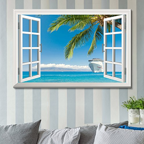 Window Peering into an Ocean with a Beach and a Cruise Ship